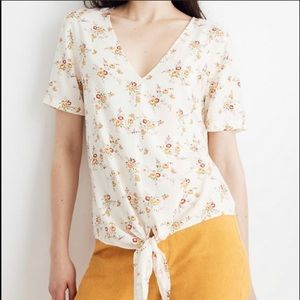 Madewell Floral Tie Front Top